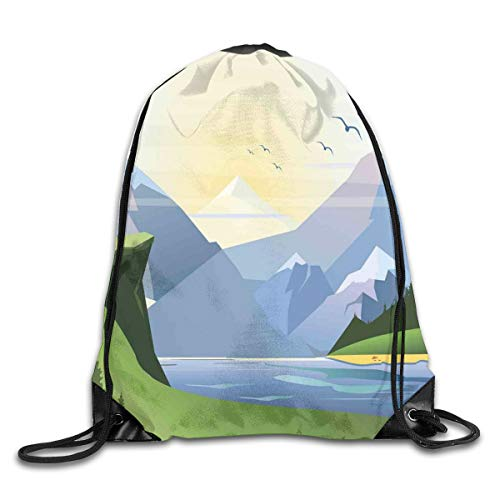 GONIESA Fashion New Drawstring Backpacks Bags Daypacks,Nature Illustration with Grass Lake Forest Mountains and Hills Outdoor Activity,5 Liter Capacity Adjustable for Sport Gym Traveling - Lake Grass