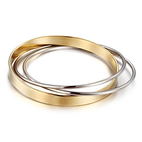 Heyrock Diameter 68mm Stainless Steel Gold Plated 316L Never Fade 3 Circls Bangle Bracelet Women Jewelry