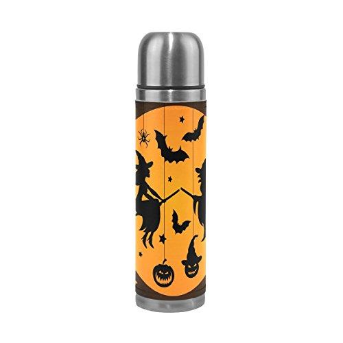 doppelwandig Edelstahl Wasser Flasche auslaufsicher Vakuum Thermo-Isolierung Tassen hält Getränke Heiß und Kalt Echt Leder Hülle 17Oz (Halloween Getranke)
