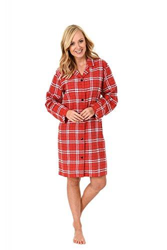 Damen Flanell Nachthemd langarm im Karo Design - 271 213 95 001, Größe:44/46;Farbe:rot (Damen-flanell)