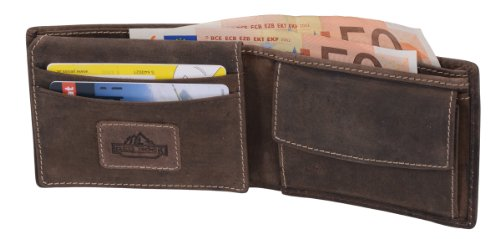 Mini-cartera AVANCO, de cuero, marrón oscuro 11x8,5cm