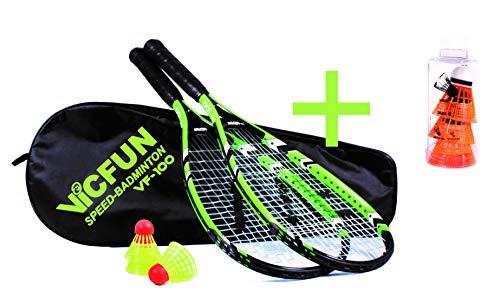 VICFUN Speed Badminton Set 100, schwarz/grün, Premium Variante