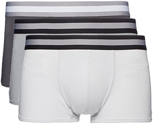 FIND Boxer Ajustado Hombre, Pack de 3, Grau (Mid Grey/Light Grey/Charcoal), Medium