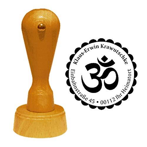 Stempel Adressstempel « HINDUISMUS » Durchmesser ca. Ø 40 mm - mit persönlicher Adresse und Motiv - Symbol OM Zeichen Religion