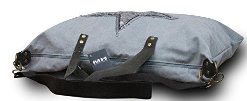 My-Musthave ital. Shopper Canvas-Tasche mit Stern Schultertasche Canvas Leder Mix Vintage , Farbe:Grau Grau