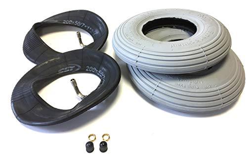 Deli Rollstuhlreifen 2 Stück 200 x 50, (auch 8x2), grau, 2 Stück Schlauch mit Winkelventil 90°/90°, Reifen mit Rillenprofil Leichtlauf, Luftdruck 25 PSI, passend für manuellen Rollstuhl