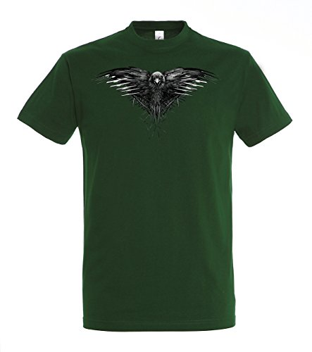 TRVPPY Herren T-ShirtThree Eyed Raven Dreiäugiger Rabe Krähe Crow in verschiedenen Farben, Gr. S-5XL Flaschengrün