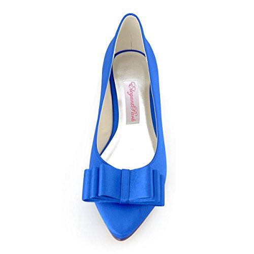 Elegantpark FC1406 Satin bout pointu arc plat Chaussures de mari¨¦e Bleu - Bleu