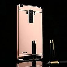 LG G4 Stylus LS770 Mirror Case, Casefashion Ultra Fino Lujo Aluminio Metal Bumper Funda + Dura Cubierta Protección Cover para LG G4 Stylus LS770 - Oro de Rose