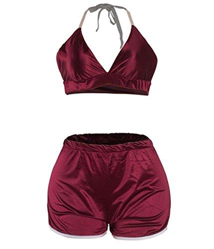 Choose Women's 2 Stück kurz Satin Schnitt Clubwear PJS Nachtwäsche (Satin Stück 2 Pjs)