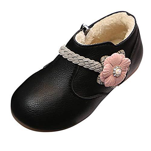 (Beikoard Winter Warm Kinder Kind Mädchen Solide Blumen Weben Prinzessin Zip Boots Schuhe Plus Samt warme Blume gewebt Feste Farbe Stiefeletten)