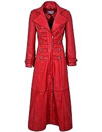Chaqueta Edwardian 3490 para mujer, piel autentica de cordero, estilo gotico, color rojo (12)