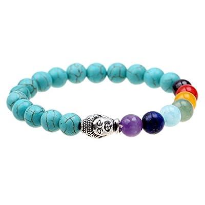 Ishow Armband, 7Farben, Chakela, Yoga, Meditation, Heilung, Türkis, buddhistische Gebetskette, für Zen, Buddhismus, Reiki, Energie-Armband, Mala-Armband