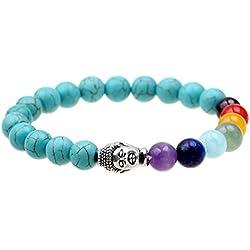 ISHOW 7 colores Visita Yoga Oración de Sanación turquesa Buda budista, el budismo Zen, Reiki pulsera Mala Energía
