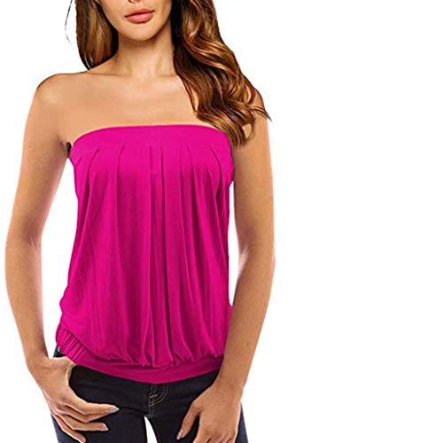 kolila Damen Wickel Weste T-Shirt Schulterfrei rückenfrei ärmellos Twisted Plissee Beiläufige Tank Top Bluse