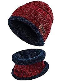 7349ac5d8a2d Enfants Écharpe De Bonnet d hiver Écharpe Ensemble Chaud Épais Tricot Ski  Skull Cap avec