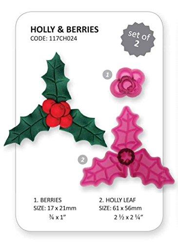 JEM 2 Set HOLLY & BERRIES Christmas Xmas Design Cutter Icing Sugarcraft Cake Dec Holly Berry Designs