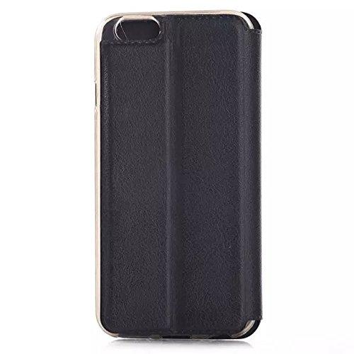 iPhone Case Cover fenster lederetui knistern stil lederetui mit stehen design für iphone 6 65 ( Color : Sky Blue , Size : IPhone 6 6s ) Black