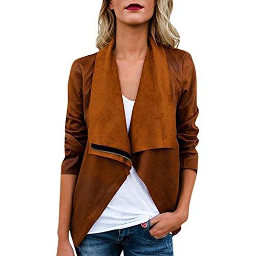 HCFKJ 2017 Mode Damen Langer HüLsen Mantel ReißVerschluss Windbreaker Kurze Outwear GeöFfnete Vordere Jacke (M, BROWN)