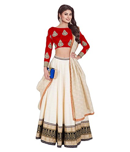 Purva Art Girls Royal Red & Cream Faux Georgette Circular Traditional Wear Lehenga Choli (PA-RCRLC_3333_Semi-Stitched)
