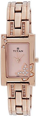 Titan Women's Purple Glam Gold Analog Pink Dial Watch
