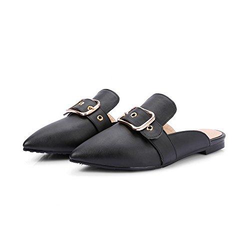 ZYUSHIZ Ziehen und Ablegen der Paketkopf mit einem coolen Tipp Belt Lacing Sandalen Frau Hausschuhe Schwarz
