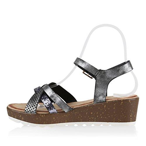 Damen Komfort-Sandalen | Lack-Optik Glitzer Metallic | Sommerschuhe | Plateau Sandalen Sandaletten | Kork Blumen Glitzer Schwarz Prints