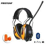 PROTEAR Wiederaufladbare Gehörschutz mit Radio FM/AM,Bluetooth,Eingebautem Mikrofon,für Industrie,BAU und Mähen Lärmreduzierung SNR 30dB(Orange)