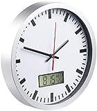 St. Leonhard Wanduhr mit Thermometer: Analoge Wanduhr, digi. Datums- & Temperaturanzeige, Bahnhofsuhr-Design (Wanduhr Badezimmer)