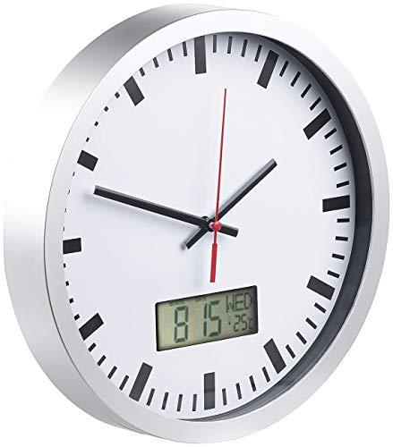 St. Leonhard Badezimmeruhren: Analoge Wanduhr, digi. Datums- & Temperaturanzeige, Bahnhofsuhr-Design (Wanduhr mit Thermometer)