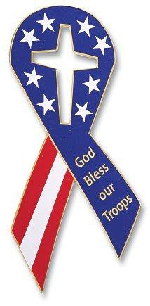 Gott segne unsere Truppen Sterne und Streifen Amerikanische Flagge Band geformtes 20,3cm Flexibles Auto Magnet Aufkleber Religiöse Geschenk -