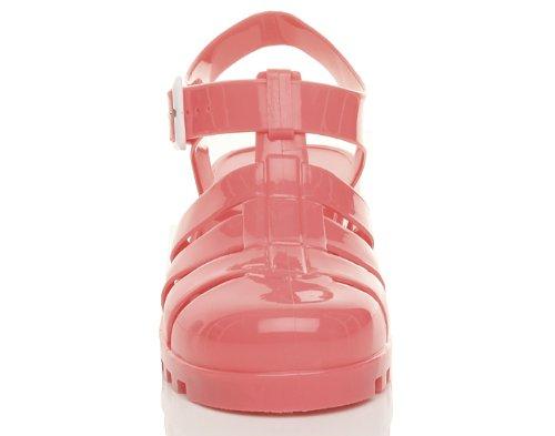 Donna tacco medio blocchetto gladiatore retrò fibbia sandali di gomma '90 taglia Corallo rosa