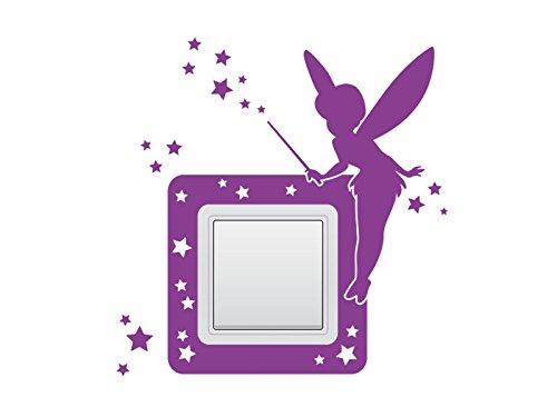 Wandtattoo Schalter-Steckdosentattoo Fee Nr 1 Wandschalter Lichtschalter Feenstaub Sterne Farbe Pink, Größe 16x17 cm | Einer
