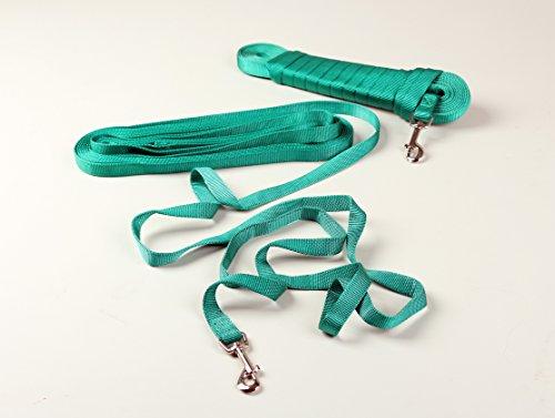 Schleppleine 10 m aus Nylon-Schlauchband / ohne Handschlaufe / 20 mm Breite / grün