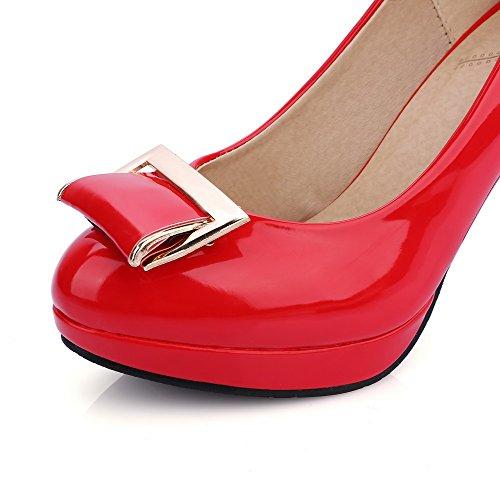 AllhqFashion Damen Hoher Absatz Lackleder Eingelegt Ziehen Auf Rund Zehe Pumps Schuhe Rot