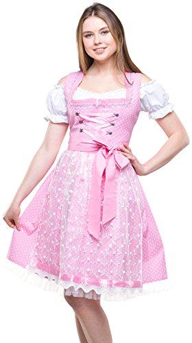 Dirndlspatz Damen Dirndl Trachtenkleid Rose Rosa Pink 3 tlg mit Spitzenschürze und Bluse Midi Länge Gr 40