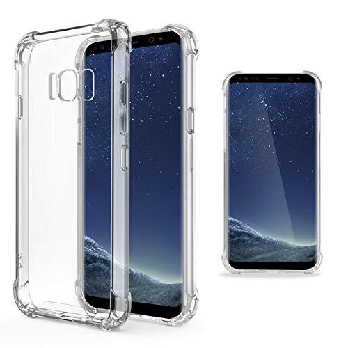 Moozy Transparent Silikon Hülle für Samsung S8 - Stoßfest Klar TPU Case Handyhülle Schutzhülle