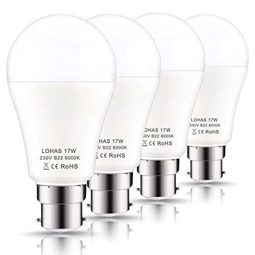 LOHAS B22 LED Bulbs 150W Equivalent, 17W LED Bayonet Light, Day White 6000K, Super Bright 1600Lm, Non-Dimmable, Energy Saving Light Bulbs, 4-Pack