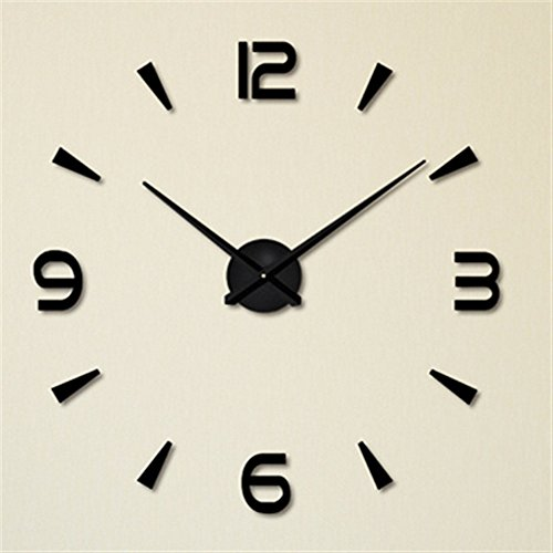 FAS1 Moderno DIY Reloj De Pared Grande Big Reloj Adhesivo 3D Pegatinas Decorativas Efecto De Espejo Acrílico Reloj De Pared Home Office Decoración Extraíble (Batería No Incluida) Negro