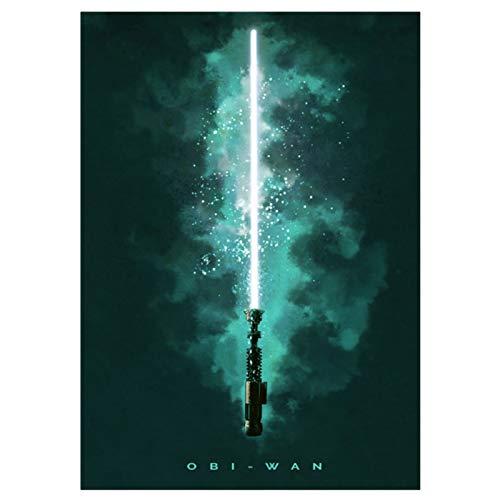 GWD CONCEPT Star Wars Metall Poster Obi-Wan Kenobi Lichtschwert Wandbild mit Klebemagnet 45x32cm