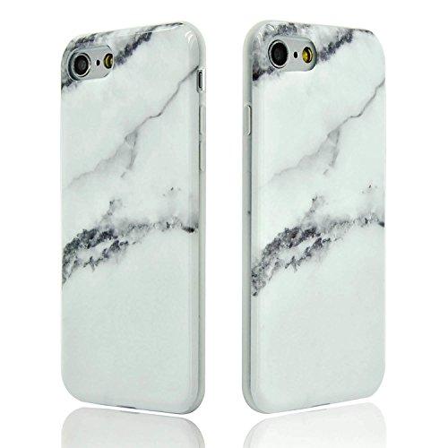 iPhone 6S Plus Marmor Hülle,iPhone 6 Plus Marble Case,Sunroyal Kreative Stylish Schickes Retro Elegant Schön Lila Gelb Achat Stein Pattern Silikon Handyhülle Weiß Stein Glamour Ultradünn Marble Malere Pattern 15