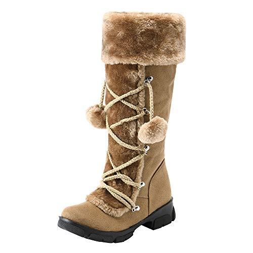 (MYMYG Damen Schneestiefel Chelsea Boots Frauen Wildleder Hairball Round Toe Square Heel Schuhe halten warme Reißverschluss Schneeschuhe Freizeitschuhe)