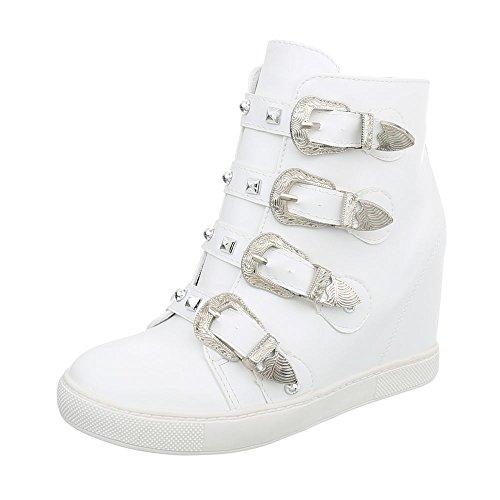 Ital-Design Sneakers High Damen-Schuhe Keilabsatz/Wedge Keilabsatz Reißverschluss Freizeitschuhe Weiß, Gr 39, 5829- Weiße Wedge Sneakers