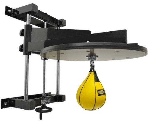 Deluxe Speedball Plattform Set inkl. Drehkugellagerung schwarz und Leder Boxbirne medium gelb/Boxapparat für die Wandmontage BCA-38