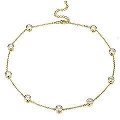 Idea Regalo - Cara Z - Collana girocollo color oro con strassaustriaci e Metallo comune placcato oro 9 ct, colore: Grey, cod. se