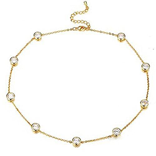 Cara Z - Collana girocollo color oro con strassaustriaci  e Metallo comune placcato oro 9 ct, colore: Grey, cod. se