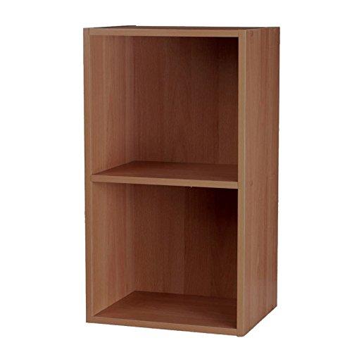 Étagère en bois stratifié modulable et contemporaine composée de cubes 2, 3 ou 4 étages Meuble de rangement/Bibliothèque, teck, 2 Tier