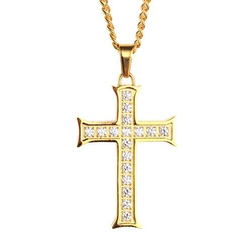PAURO Herren Edelstahl Zirkonia Micro Pave Kreuz Anhänger Halskette Gold
