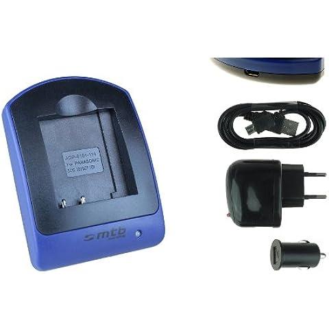 Cargador (USB/Coche/Corriente) para Panasonic BCG10E / Lumix DMC TZ, ZR, ZS, ZX. - ver lista