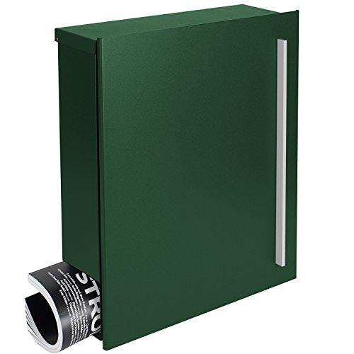 MOCAVI Box 110 Qualitäts-Briefkasten mit Zeitungsfach moos-grün (RAL 6005) Wandbriefkasten 12 Liter Design-Briefkasten Postkasten